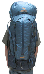Arc'teryx Bora 80 ; full setup with floating lid shown with 5'11' model