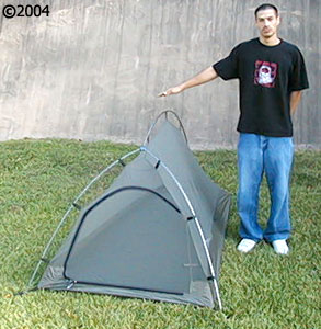 Big Agnes Seedhouse SL 1; 3 season 1 person tent; model next to tent
