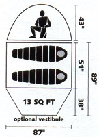Black Diamond Lighthouse, 4 season 2 person ultralight tent; diagram