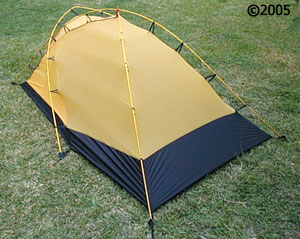 Hilleberg Jannu 2 person mountaineering tent  3/4 view & Jannu red-colored fly :: Moontrail