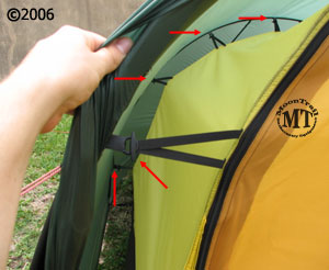 The inner tent of the Hilleberg Nallo tents is suspended from the outer tent by elastic loops. These loops (shown by red arrows in photo) attach to the ... & Nallo 2 GT :: Moontrail