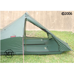 Hilleberg Rajd 2 person mountaineering tent: front view with door open and two standard size sleeping pads inside