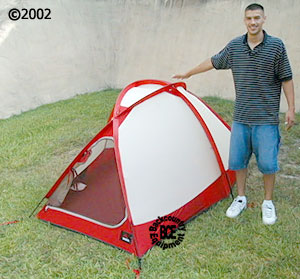 msr fury 2 person mountaineering tent; view with model