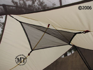 The Mutha Hubba includes a mesh gear loft attic which can be used to store small gear within easy reach at the peak of the tent. & Mutha Hubba :: Moontrail