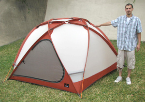 MSR StormKing mountaineering tent, view of model showing height