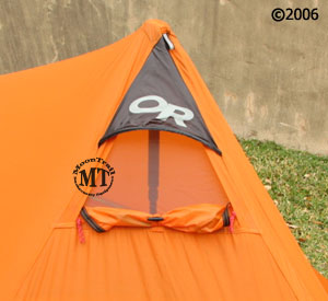 ... entering tent Outdoor Research NightHaven  detail vies of front vent & NightHaven tent :: Moontrail