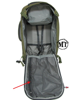 Osprey Meridian wheeled travel pack : interior of main compartment