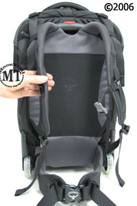 Osprey Meridian wheeled travel pack : backpanel and shoulder harness