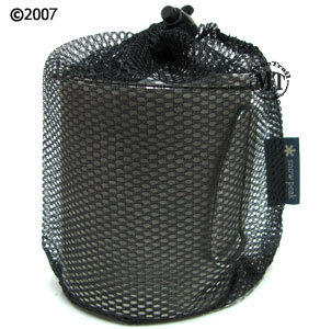 Snow Peak Trek 700 titanium kettle : stored in included mesh sack
